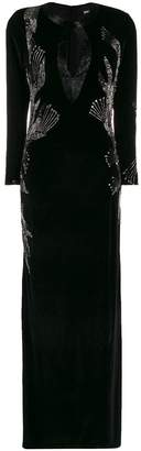 Just Cavalli bead-embroidered velvet gown