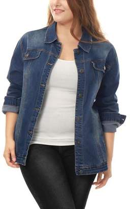Unique Bargains Women's Plus Size Stitching Button Front Washed Denim Jacket