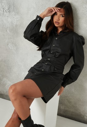 Missguided Black Coated Cinched Waist Denim Dress
