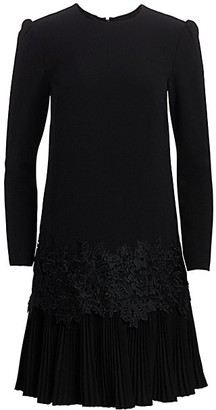 Lela Rose Fluid Crepe Pleat-Hem Tunic Dress