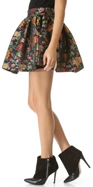 Alice + Olivia Jack Box Pleat Floral Skirt