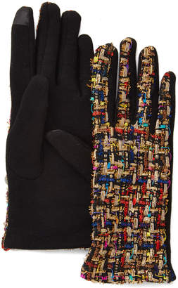 David & Young Women's Casual Gloves Black - Black & Rainbow Woven Touch Screen Gloves