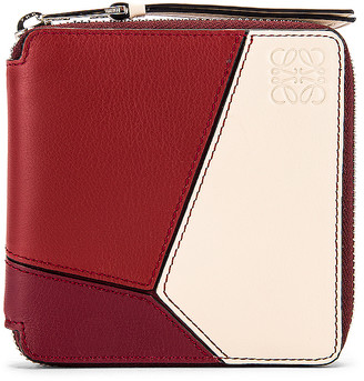Loewe Puzzle Square Zip Wallet in Wine & Garnet | FWRD