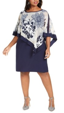 R & M Richards Plus Size Floral-Print Cape Dress