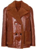 Yves Salomon Double Breasted Shearling Jacket - Brown - Size FR38