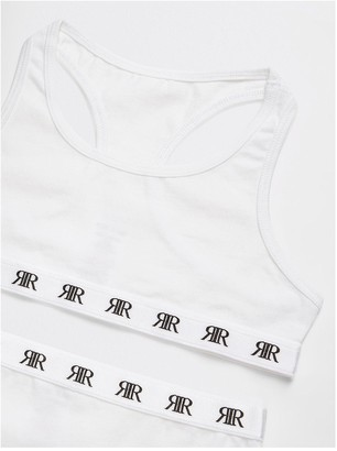 River Island Girls white racer crop top and briefs set