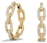 David Yurman Stax Medium Chain Link Hoop Earrings with Diamonds in 18K Gold