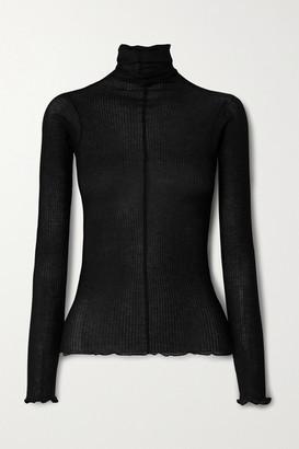 Base Range Pama Ribbed Organic Cotton Turtleneck Sweater - Black