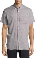 Billy Reid Tuscumbia Printed Short-Sleeve Sport Shirt, Gray