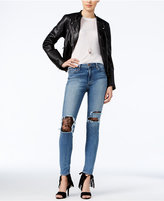 Joe's Jeans Charlie Brooke Wash Lace-Trim Ripped Jeans