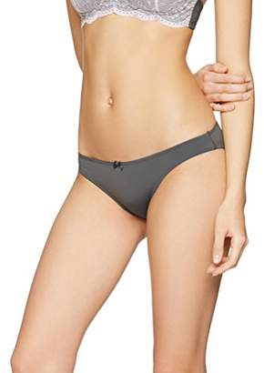 Iris & Lilly Women's Bikini Brief in Soft Fabric with Bow Detail Body Smooth,Large