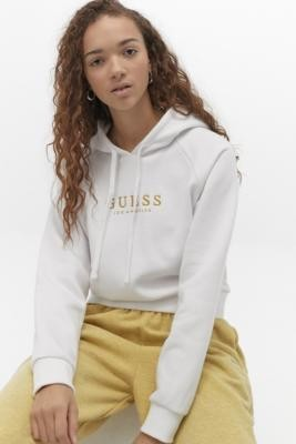 GUESS Cropped Logo Hoodie - White XS at Urban Outfitters