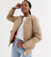 Another Reason boyfriend style bomber jacket with contrast lining