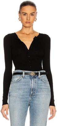 Enza Costa Silk Rib Fitted Long Sleeve Cardigan in Black | FWRD