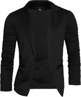 uxcell® Mens Peaked Lapel Long Sleeve Stretchy Pockets Front Casual Blazer S