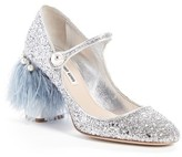 Miu Miu Women's Feather Block Heel Mary Jane Pump