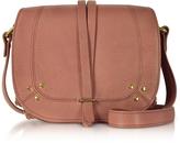 Jerome Dreyfuss Victor Rose Leather Crossbody Bag w/Golden Rings
