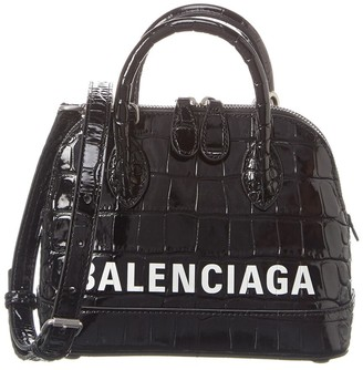 Balenciaga Ville Xxs Croc-Embossed Leather Top Handle Tote