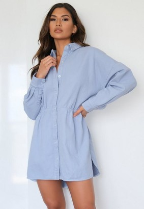 Missguided Blue Tie Back Oversized Denim Shirt Dress