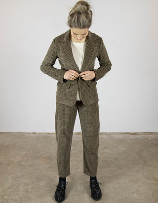 Busby & Fox - Nancy Checked Corduroy Jacket - Small | cotton | brown - Brown/Brown