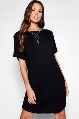 boohoo Tall Curved Hem T-Shirt Dress