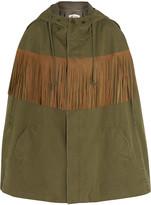 Saint Laurent Fringed suede-trimmed cotton and linen-blend twill cape