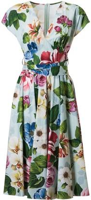 Dolce & Gabbana V-neck Floral Print Dress