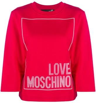 Love Moschino Logo Print Round Neck Top