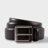 Paul Smith Men's Black Leather Belt With Signature Stripe Lining