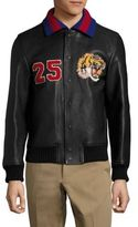 Gucci Leather Patch Bomber Jacket