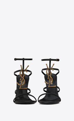 Saint Laurent Sandals Cassandra Sandals In Smooth Leather With Gold-toned Bamboo Logo (110) Black 1