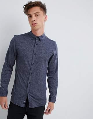 Tokyo Laundry Marl Slim Fit Shirt-Navy