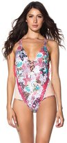 Agua Bendita Women's One Piece Plunge Swimsuit L
