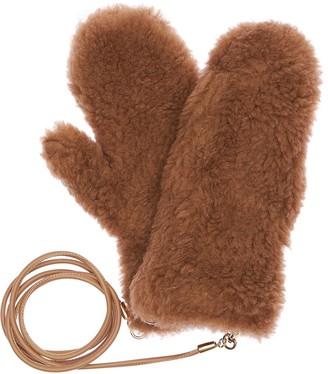 Max Mara Ombrato Fur Effect Mittens W/ Strap