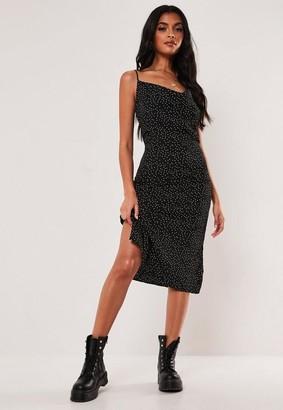 Missguided Polka Dot Cowl Neck Cami Slip Midi Dress