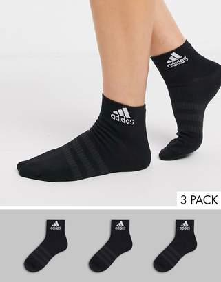 adidas 3 pack ankle socks in black