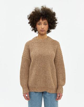 LAUREN MANOOGIAN Women's Fisherwoman Knit Pullover Top in Natural Camel, Size 1