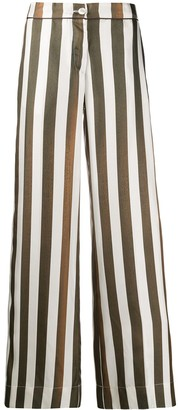 F.R.S For Restless Sleepers Striped Flared Trousers
