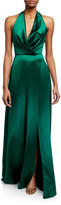 Theia Plunge Front Heavy Charmeuse Satin Halter Gown
