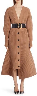 Alexander McQueen Flutter Hem Long Sleeve Wool & Cashmere Midi Sweater Dress