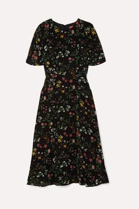 Altuzarra Sylvia Floral-print Silk Crepe De Chine Midi Dress - Black