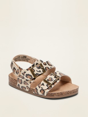 Old Navy Leopard-Print Faux-Leather Double-Strap Sandals for Baby