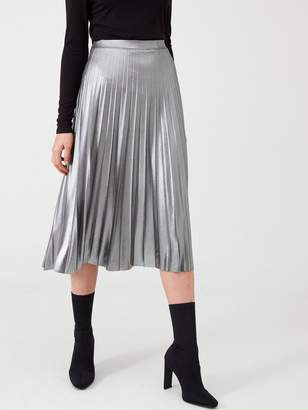 Wallis Metallic Pleated Skirt - Silver
