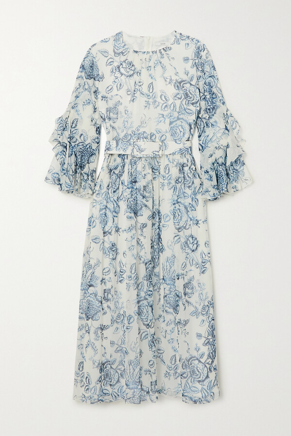 Thumbnail for your product : Erdem Adriana Belted Ruffled Floral-print Silk-voile Midi Dress - Cream