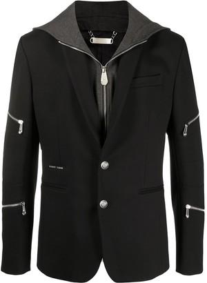 Philipp Plein Zipped Jersey Blazer