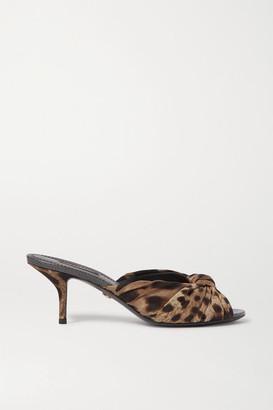 Dolce & Gabbana Knotted Leopard-print Silk-faille Mules - Leopard print