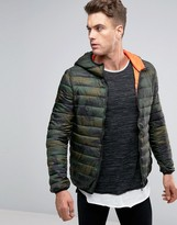Pull&bear Padded Jacket In Camo With Hood