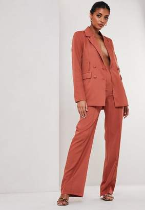 Missguided Rust Co Ord Seam Detail Straight Leg Pants