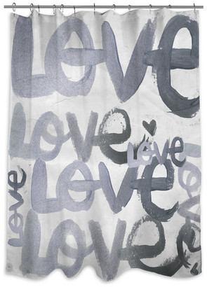 """Oliver Gal Four Letter Word Silver"""" Shower Curtain, 71""""x74"""""""