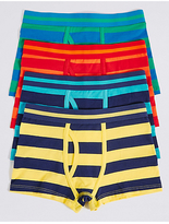 Marks and Spencer 4 Pack Striped Cotton Trunks with Stretch (2-16 Years)